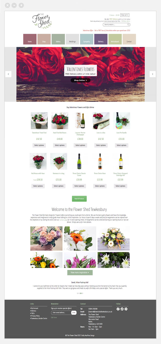 flower shed ecommerce web design